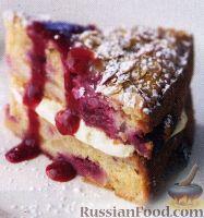 Фото к рецепту: Торт с малиной, миндалем и сыром маскарпоне