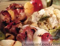 Фото к рецепту: Кебаб из курицы с ананасами