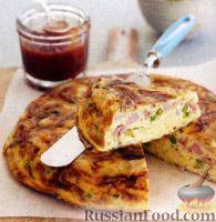 Фото к рецепту: Фриттата с ветчиной, сыром и зеленым горошком