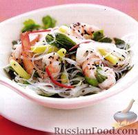 Фото к рецепту: Салат с креветками и прозрачной лапшой