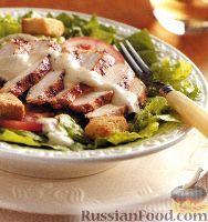Фото к рецепту: Салат «Цезарь» с куриным мясом