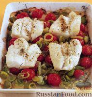 Фото к рецепту: Треска с луком-пореем и помидорами