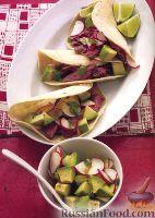 Фото к рецепту: Тако с говядиной, редисом и авокадо