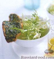 Фото к рецепту: Салат фризе с гренками и соусом Песто