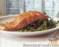 Фото к рецепту: Семга с грибами, луком-пореем и рукколой