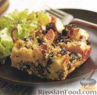 Фото к рецепту: Хлебный пудинг с грибами и луком-пореем