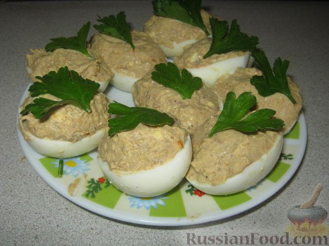 Рецепт Яйца, фаршированные печенью
