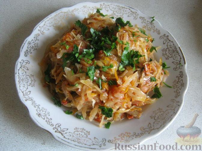 Рецепт Постная тушеная капуста с грибами