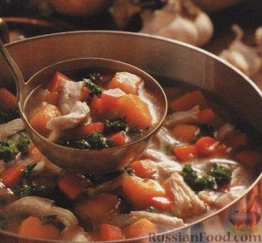 Рецепт Куриный суп с тыквой и брокколи