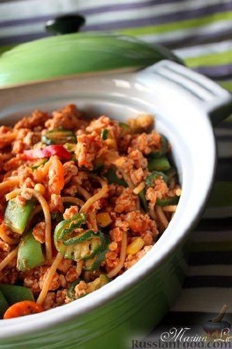 Рецепт Ужин за 15 минут: макароны с фаршем и овощами