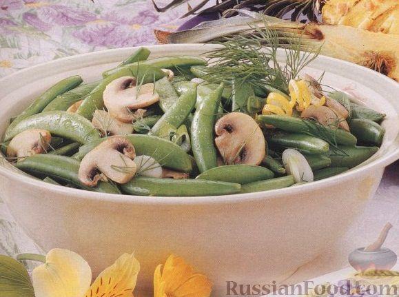 Рецепт Стручковый горошек и шампиньоны, приготовленные на гриле