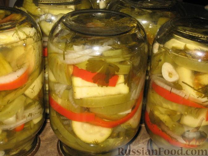Рецепт Салат из зеленых помидоров и кабачков