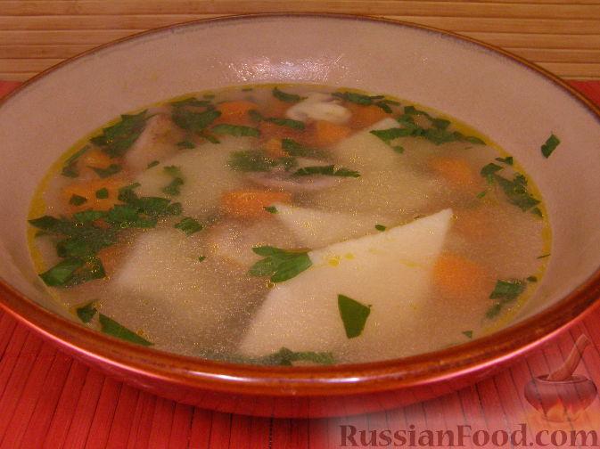 Рецепт Постный суп с грибами и манными клецками