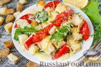 "Фото к рецепту: Салат ""Цезарь"" с курицей и помидорами"