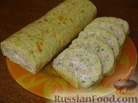 Фото к рецепту: Кабачковый рулет с ветчиной и домашним сыром