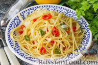 Фото к рецепту: Спагетти с чили и чесноком