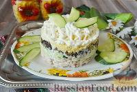 Фото к рецепту: Слоёный салат с копчёной курицей и грибами