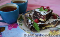 Фото к рецепту: Брауни с творогом и малиной