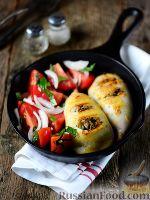 Фото к рецепту: Кальмары, фаршированные овощами и грибами
