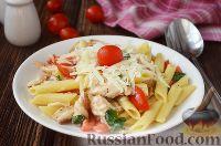 Фото к рецепту: Паста с курицей, помидорами и шпинатом