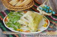 Фото к рецепту: Голубцы из савойской капусты с курицей и грибами