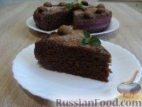 Фото к рецепту: Шоколадный пирог с фруктовой пропиткой (в мультиварке)