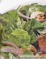 Фото к рецепту: Зеленый салат с шампиньонами