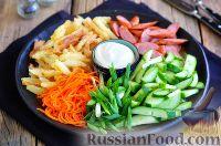 Фото к рецепту: Картофельный салат с охотничьими колбасками