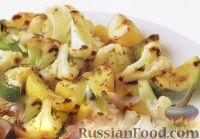 Фото к рецепту: Гарнир из обжаренных кабачков и цветной капусты