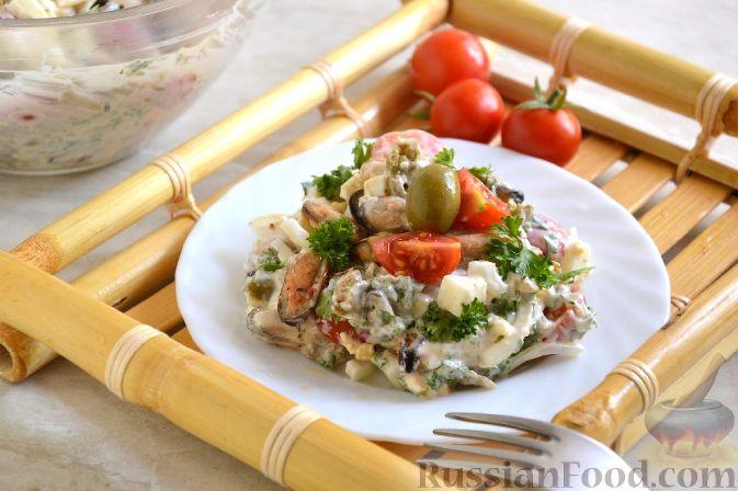 салат с консервированными мидиями рецепт с фото очень вкусный