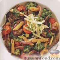 Фото к рецепту: Макароны с говядиной и брокколи