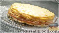 Фото к рецепту: Трёхслойный торт-омлет