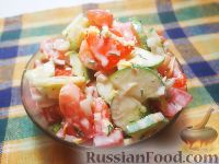Фото к рецепту: Овощной салат с сырной заправкой