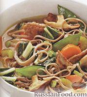 Фото к рецепту: Бульон с лапшой, грибами и свининой