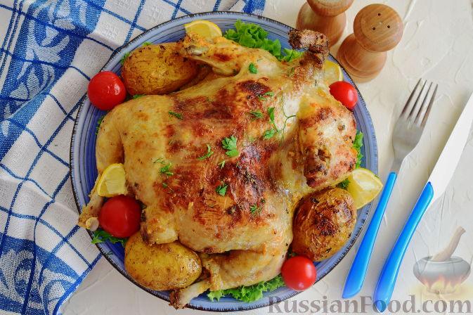 Фото к рецепту: Курица в пикантном маринаде с хреном, запеченная в рукаве