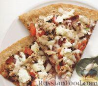 Фото к рецепту: Пицца с козьим сыром и ветчиной