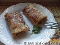 Фото к рецепту: Блинчики с мясом, капустой и луком