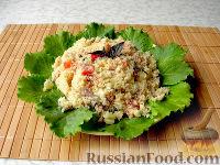 Фото к рецепту: Салат из кускуса с тунцом и овощами