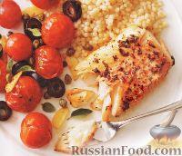 Фото к рецепту: Треска, запеченная с помидорами черри