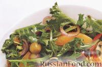 Фото к рецепту: Зеленый салат с апельсинами