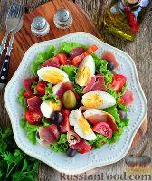 Фото к рецепту: Испанский салат с хамоном (сыровяленым мясом)