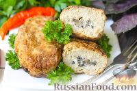 Фото к рецепту: Зразы с мясным фаршем, грибами и яйцом
