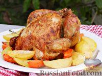 Фото к рецепту: Запеченный цыпленок с лимоном и тимьяном