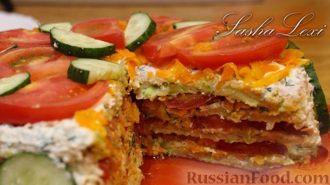 Фото к рецепту: Кабачковый торт с творогом и помидорами