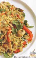 Фото к рецепту: Салат из пасты орцо и шампиньонов