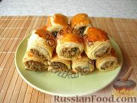 Фото к рецепту: Бурекасы (пирожки) из слоеного теста с рыбной начинкой