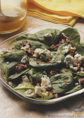 Рецепт Салат из шпината с сыром и орехами