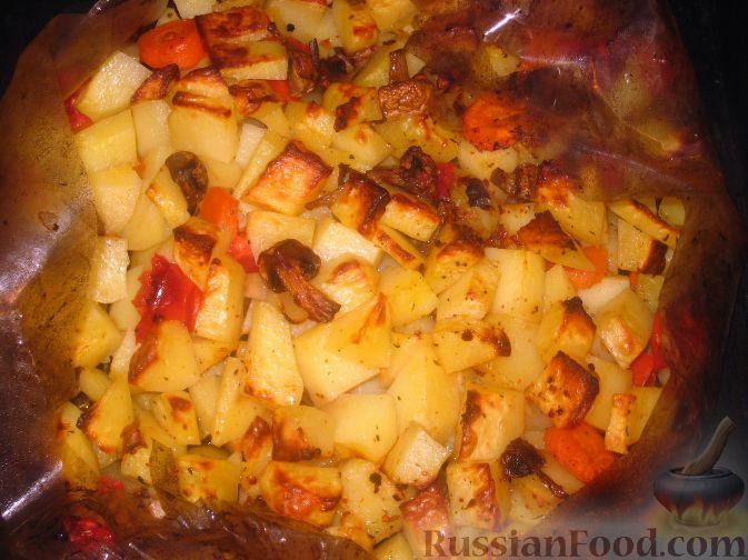 рецепт картофель с овощами духовке