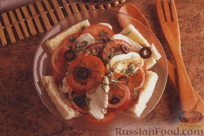 Рецепт Салат из помидоров, моцареллы, лука и хлебных ломтиков