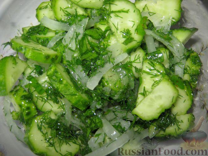 рецепт салата из огурцов и зелени
